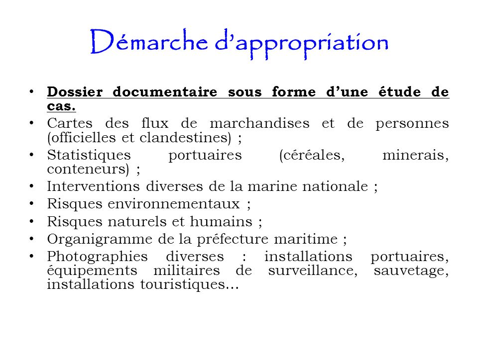 Démarche d'appropriation