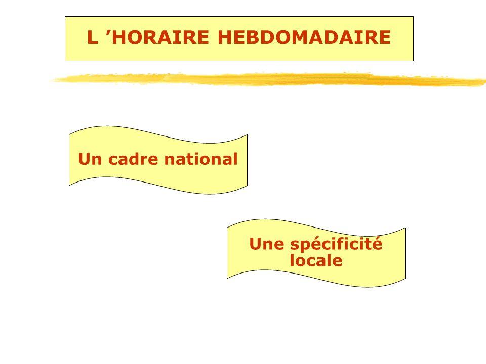 L 'HORAIRE HEBDOMADAIRE