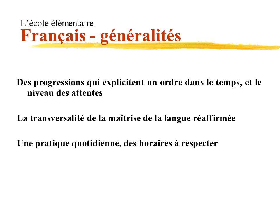 L'école élémentaire Français - généralités