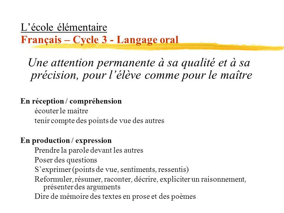 L'école élémentaire Français – Cycle 3 - Langage oral