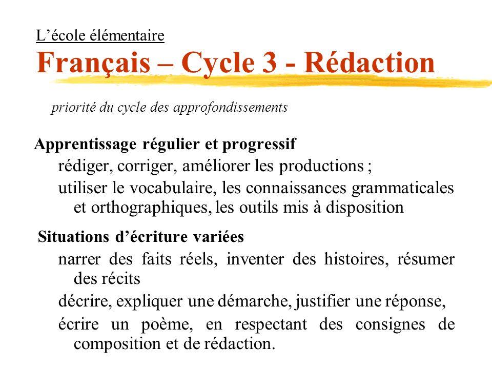 L'école élémentaire Français – Cycle 3 - Rédaction