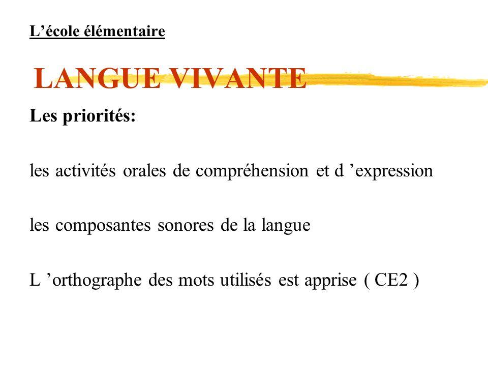 L'école élémentaire LANGUE VIVANTE