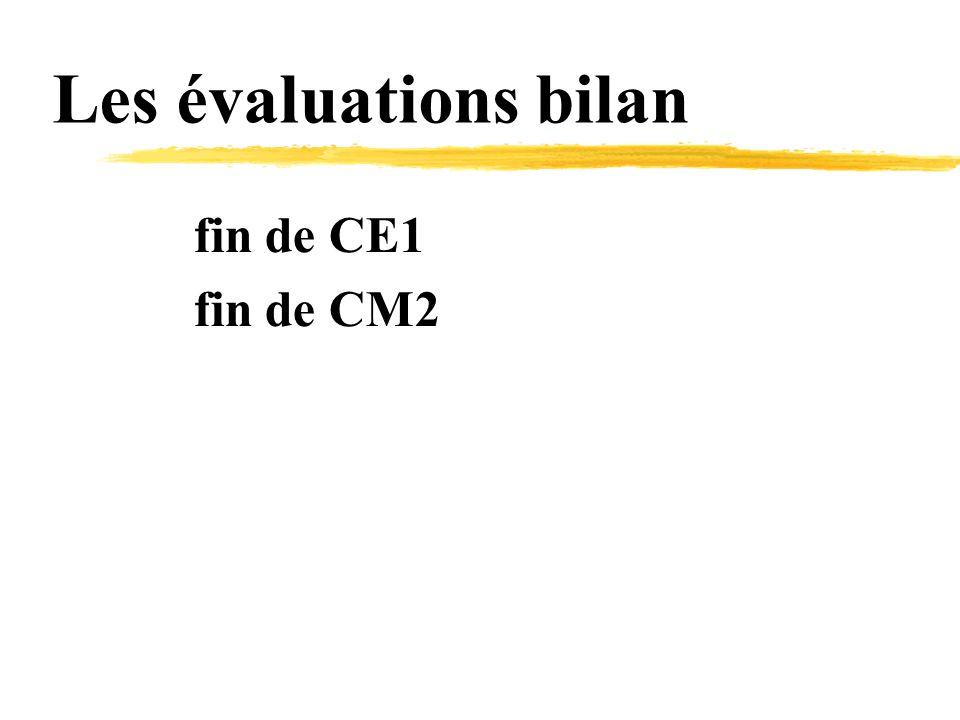 Les évaluations bilan fin de CE1 fin de CM2