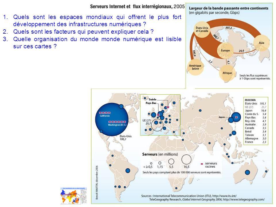 Quels sont les espaces mondiaux qui offrent le plus fort développement des infrastructures numériques