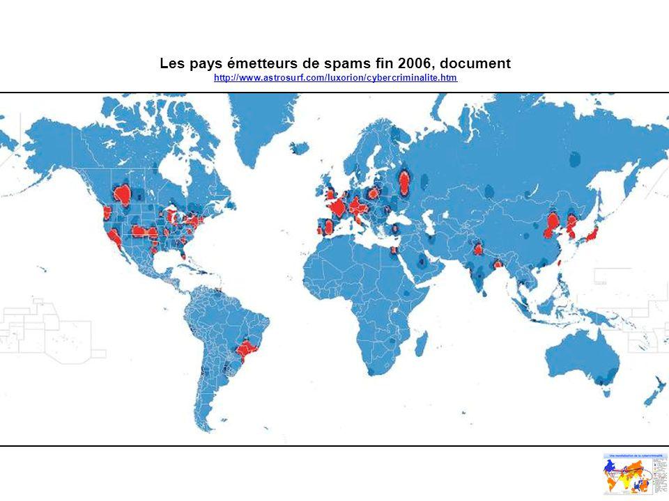 Les pays émetteurs de spams fin 2006, document