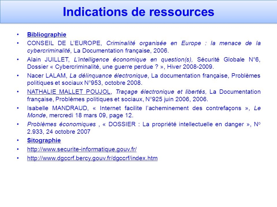 Indications de ressources