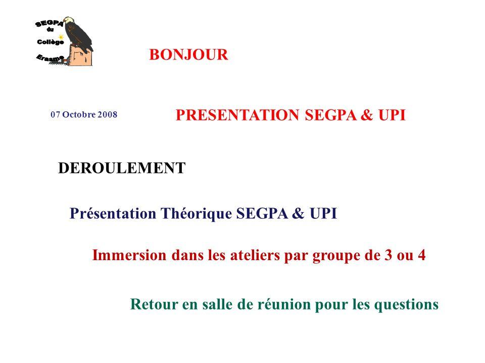 SEGPA du Collège Erasme BONJOUR PRESENTATION SEGPA & UPI DEROULEMENT