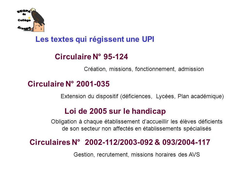 SEGPA du Collège Erasme Les textes qui régissent une UPI