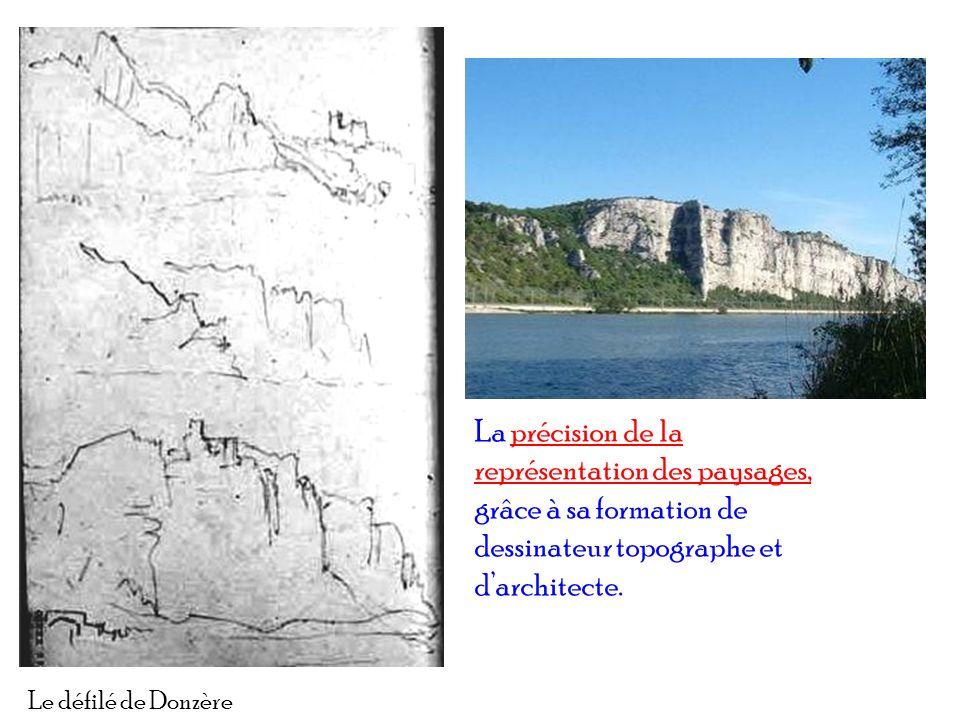 La précision de la représentation des paysages, grâce à sa formation de dessinateur topographe et d'architecte.