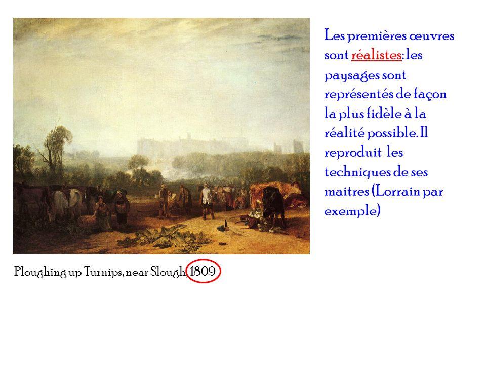 Les premières œuvres sont réalistes: les paysages sont représentés de façon la plus fidèle à la réalité possible. Il reproduit les techniques de ses maitres (Lorrain par exemple)