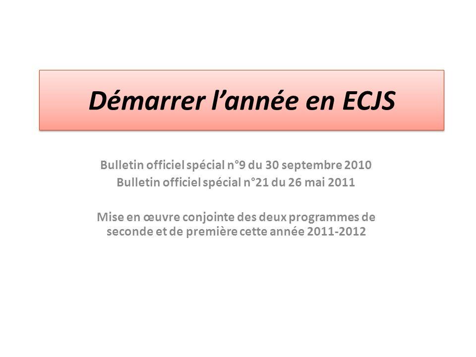 Démarrer l'année en ECJS