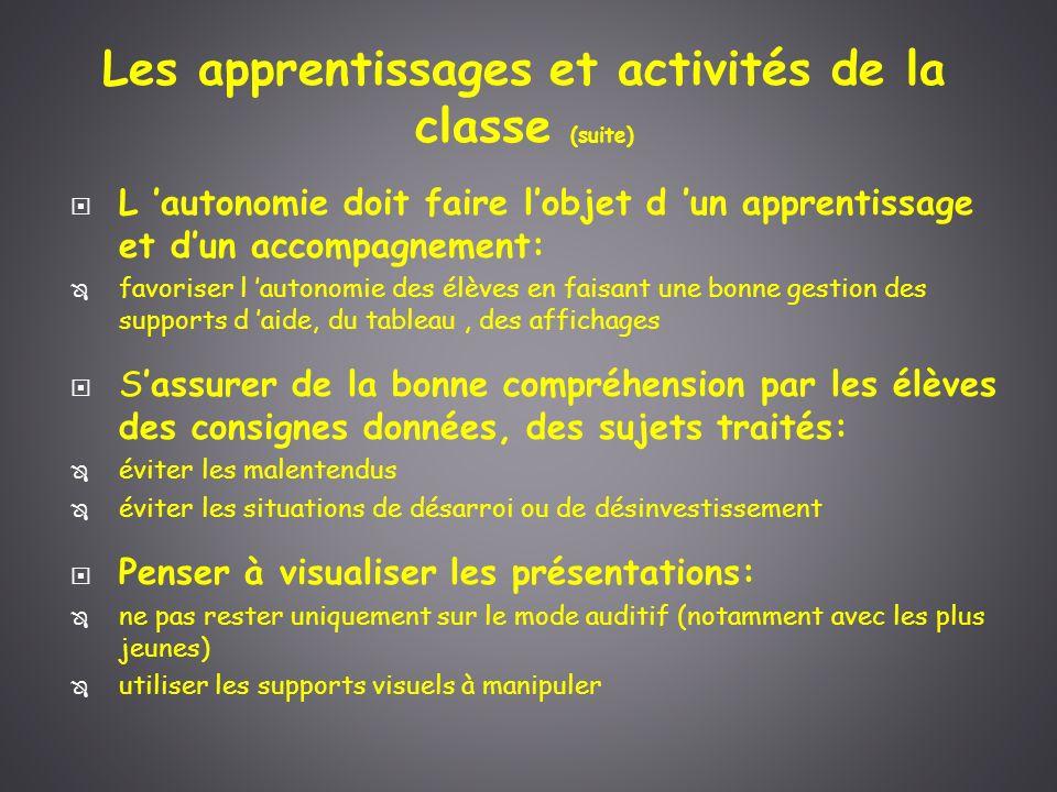 Les apprentissages et activités de la classe (suite)