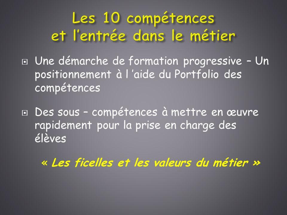 Les 10 compétences et l'entrée dans le métier
