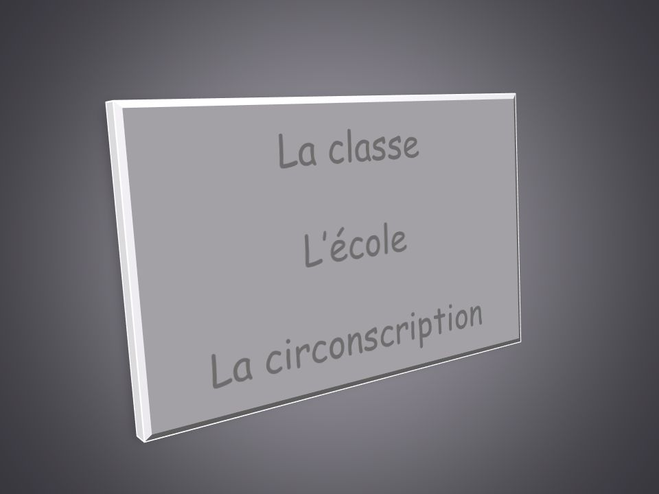 La classe L'école La circonscription