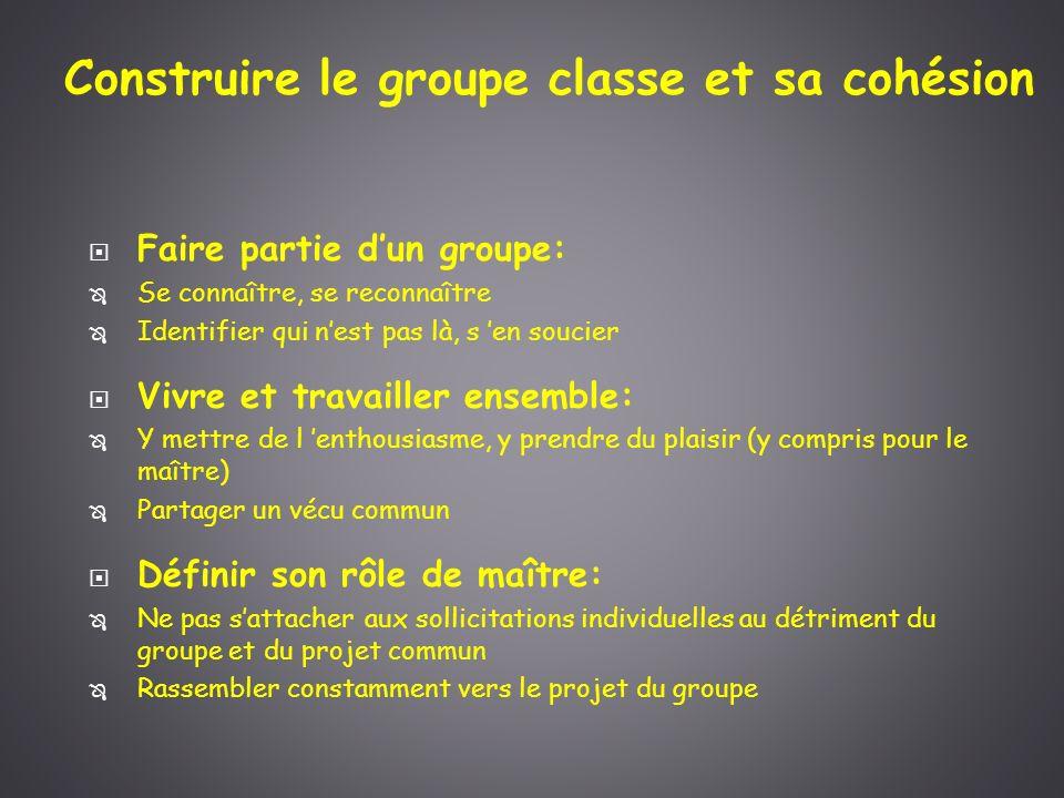Construire le groupe classe et sa cohésion