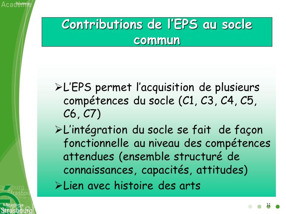 Contributions de l'EPS au socle commun