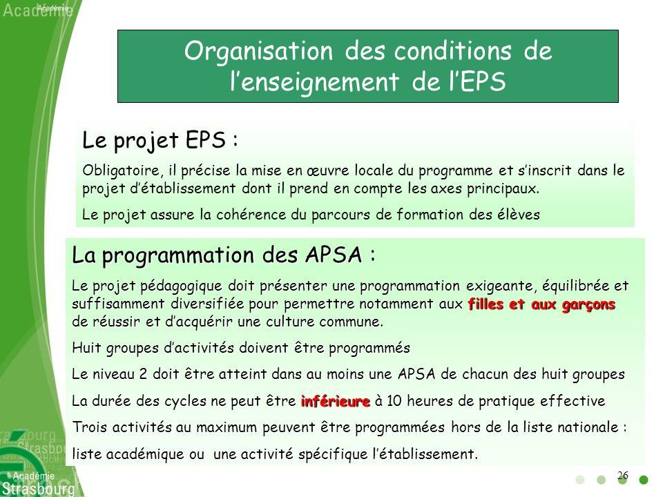 Organisation des conditions de l'enseignement de l'EPS