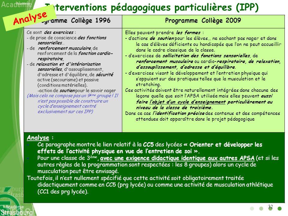 Interventions pédagogiques particulières (IPP) Analyse