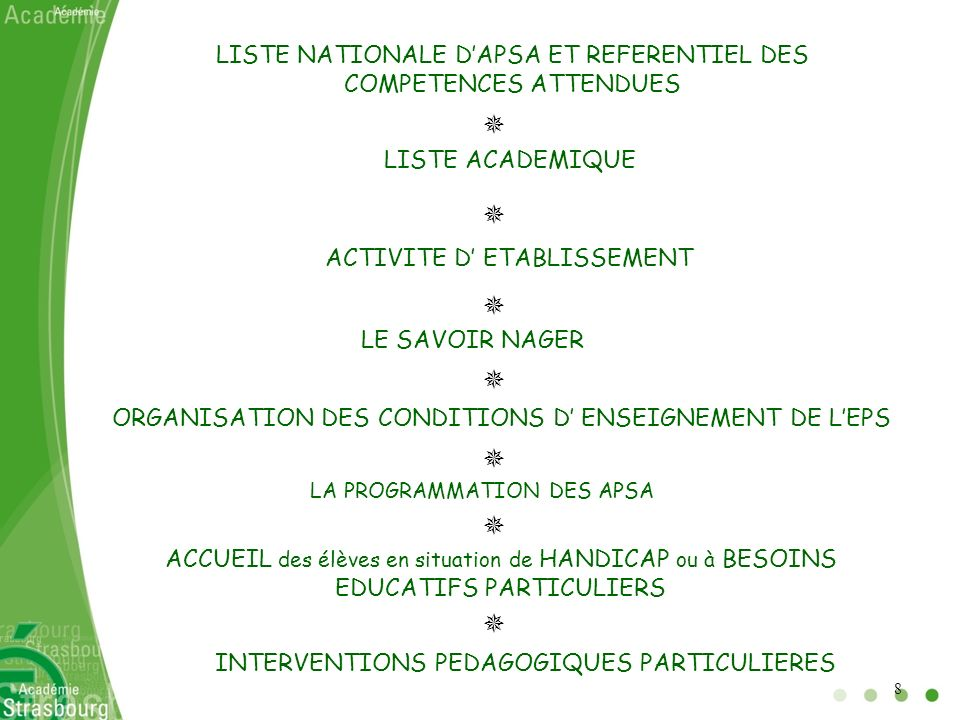 LISTE NATIONALE D'APSA ET REFERENTIEL DES COMPETENCES ATTENDUES