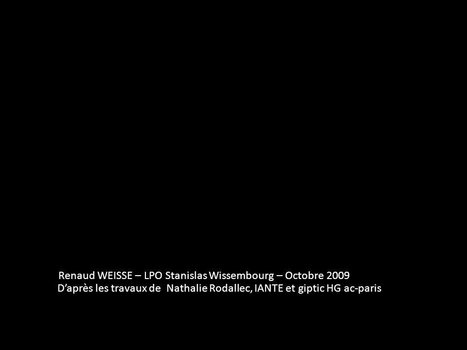 Renaud WEISSE – LPO Stanislas Wissembourg – Octobre 2009