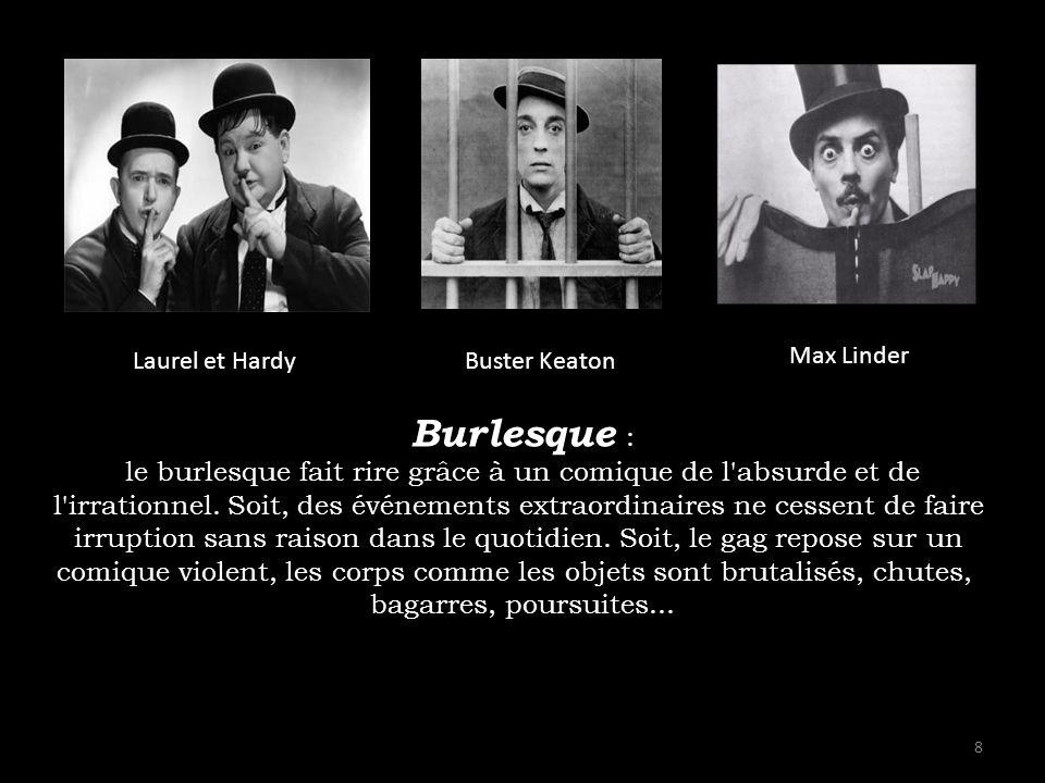 Laurel et Hardy Buster Keaton. Max Linder. Burlesque : le burlesque fait rire grâce à un comique de l absurde et de.