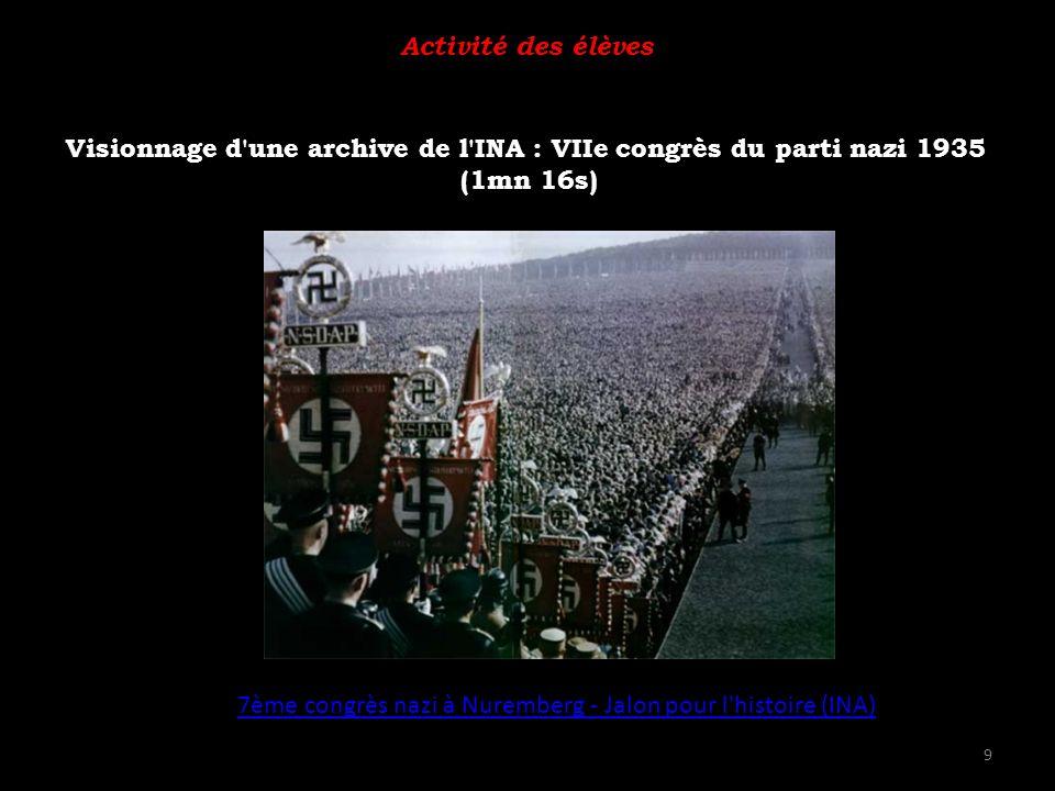 Visionnage d une archive de l INA : VIIe congrès du parti nazi 1935