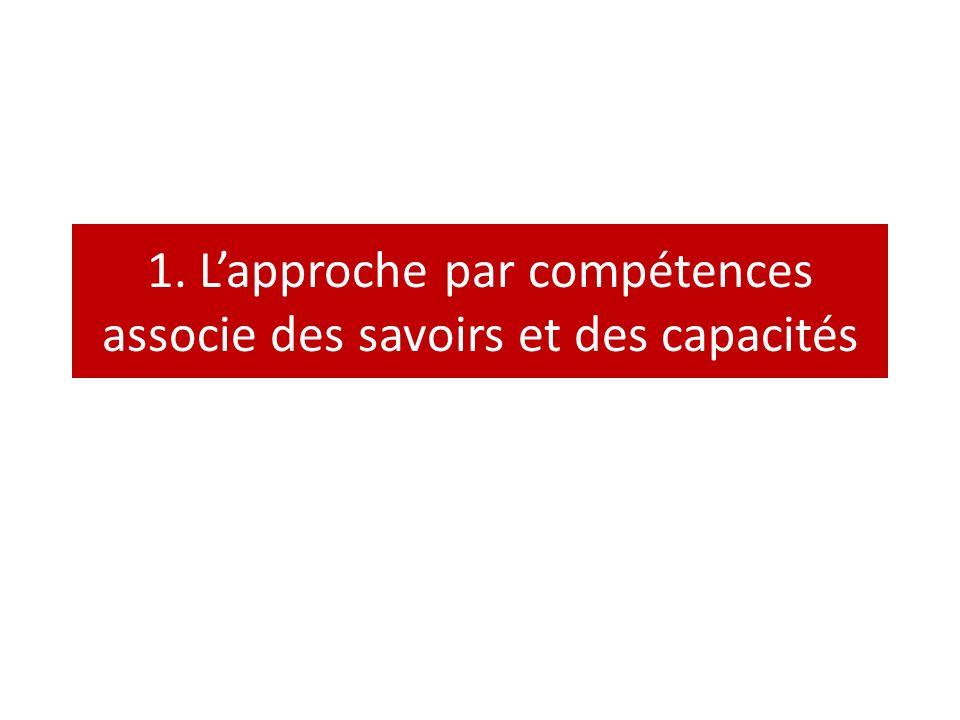 1. L'approche par compétences associe des savoirs et des capacités
