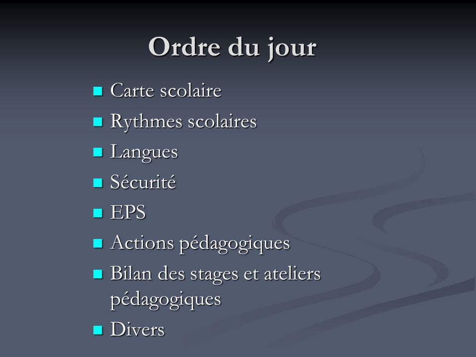 Ordre du jour Carte scolaire Rythmes scolaires Langues Sécurité EPS