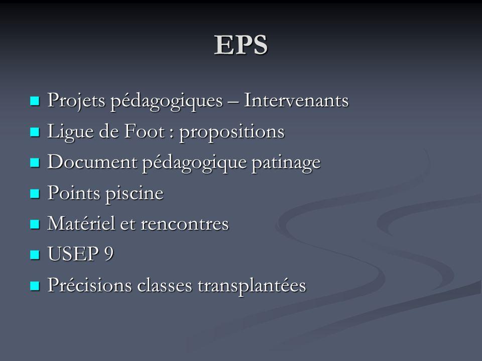 EPS Projets pédagogiques – Intervenants Ligue de Foot : propositions