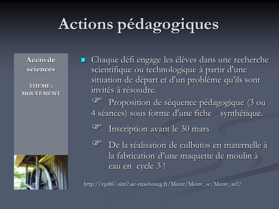 Actions pédagogiques  Inscription avant le 30 mars