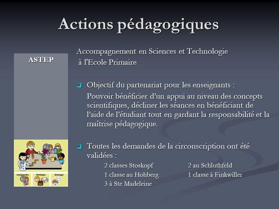 Actions pédagogiques Accompagnement en Sciences et Technologie
