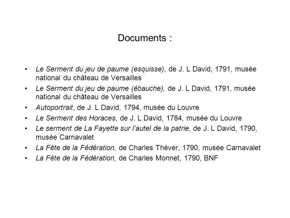 Documents :Le Serment du jeu de paume (esquisse), de J. L David, 1791, musée national du château de Versailles.