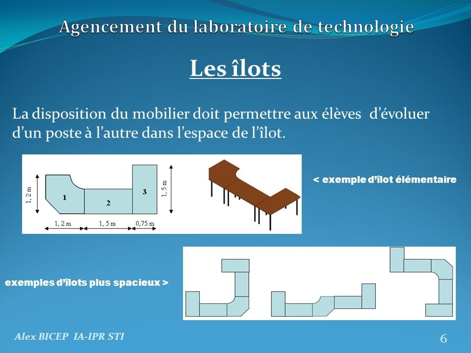 Agencement du laboratoire de technologie