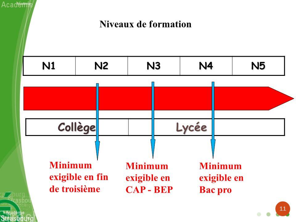 Collège Lycée Niveaux de formation N1 N2 N3 N4 N5