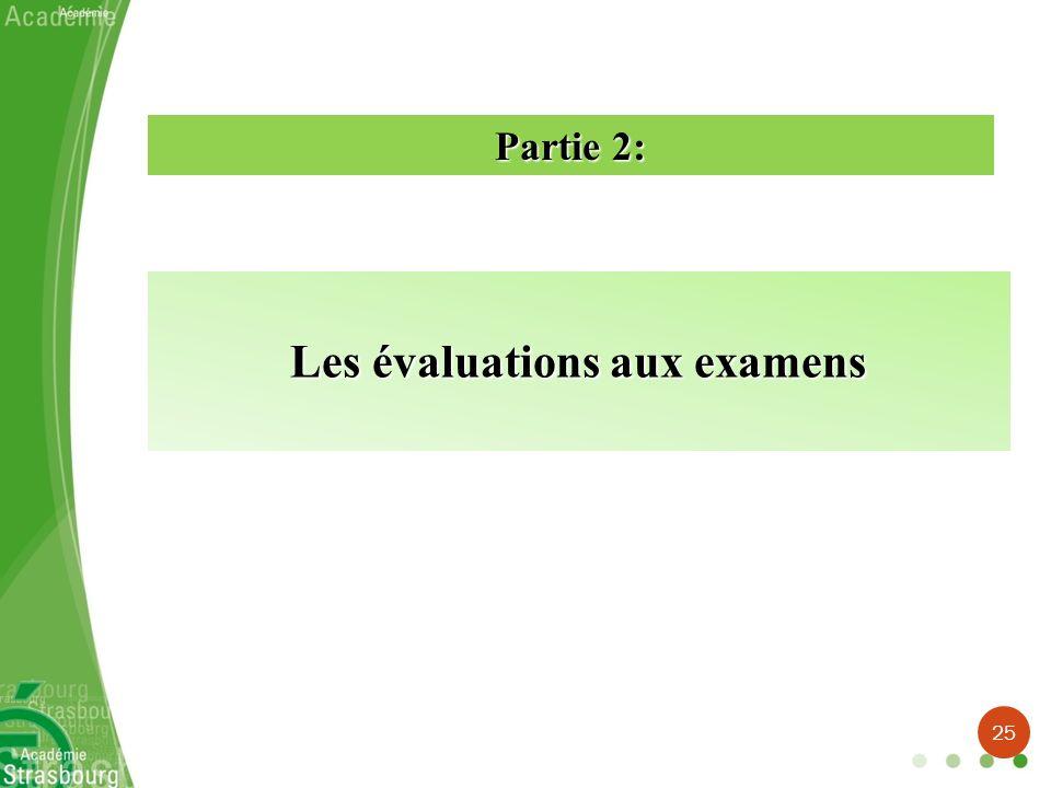 Les évaluations aux examens