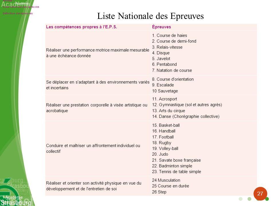 Liste Nationale des Epreuves