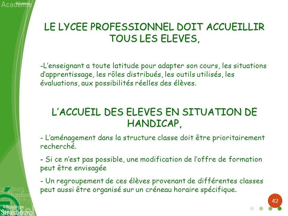 LE LYCEE PROFESSIONNEL DOIT ACCUEILLIR TOUS LES ELEVES,