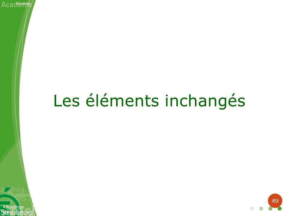 Les éléments inchangés