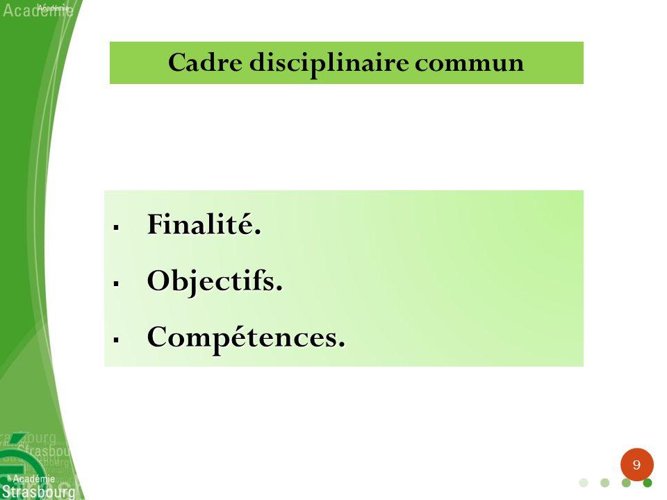 Cadre disciplinaire commun