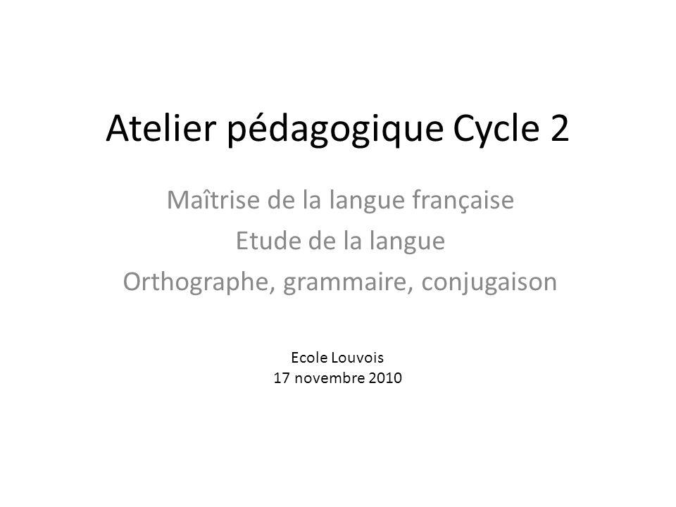 Atelier pédagogique Cycle 2