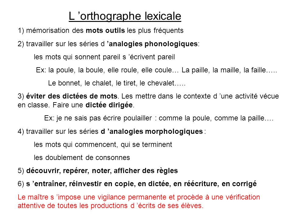 L 'orthographe lexicale