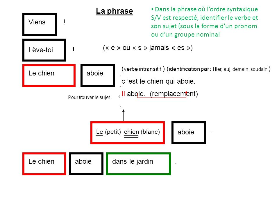 La phrase Dans la phrase où l'ordre syntaxique S/V est respecté, identifier le verbe et son sujet (sous la forme d'un pronom ou d'un groupe nominal.