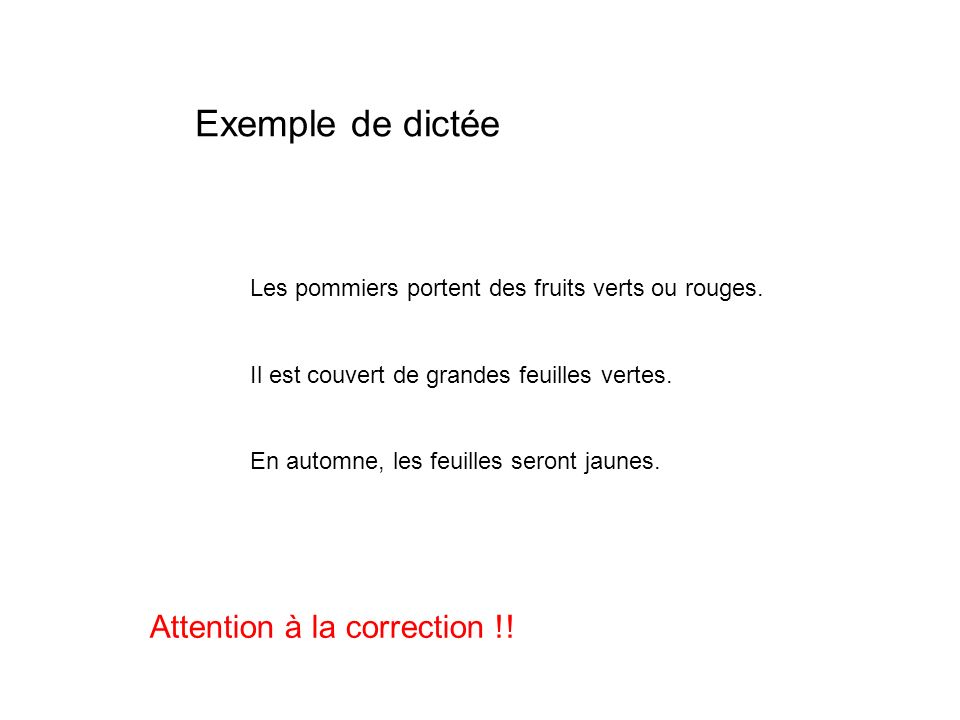 Exemple de dictée Attention à la correction !!
