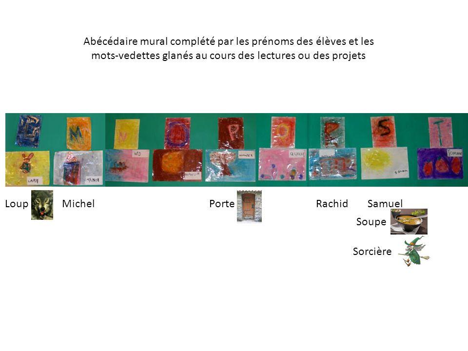 Abécédaire mural complété par les prénoms des élèves et les mots-vedettes glanés au cours des lectures ou des projets