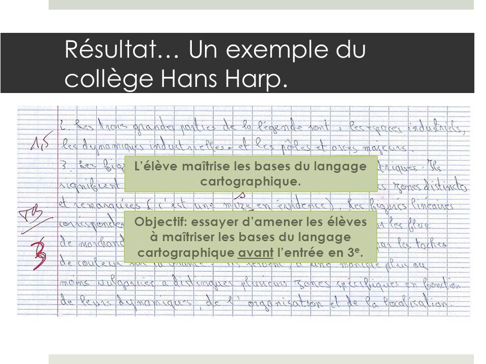 Résultat… Un exemple du collège Hans Harp.