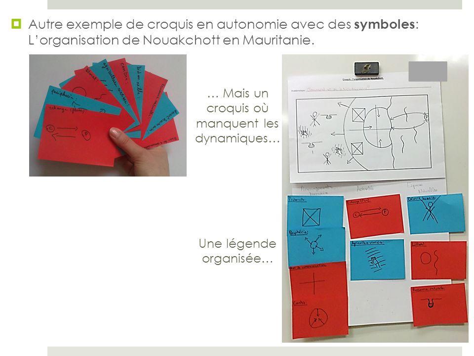 Autre exemple de croquis en autonomie avec des symboles: L'organisation de Nouakchott en Mauritanie.