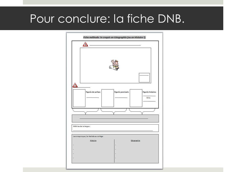 Pour conclure: la fiche DNB.