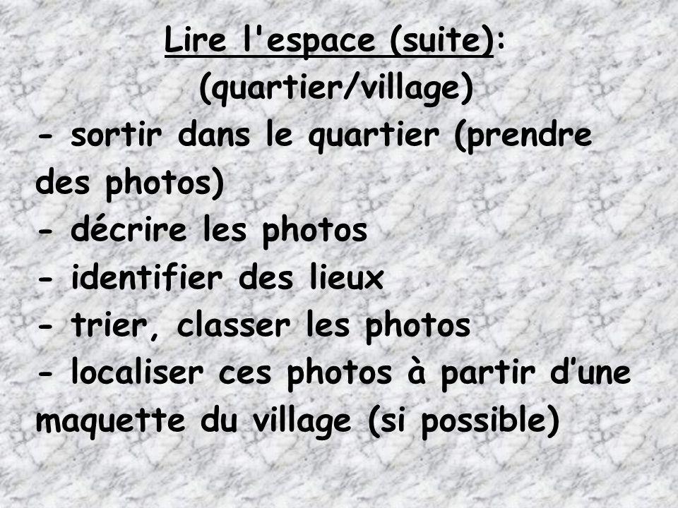 Lire l espace (suite): (quartier/village) - sortir dans le quartier (prendre des photos) - décrire les photos.