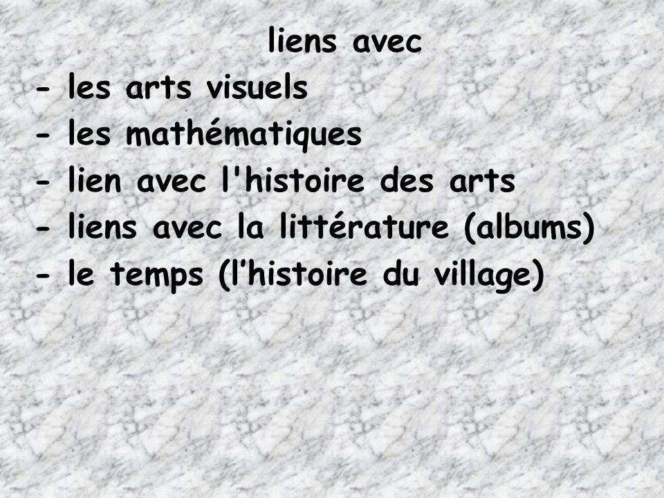liens avec - les arts visuels. - les mathématiques. - lien avec l histoire des arts. - liens avec la littérature (albums)