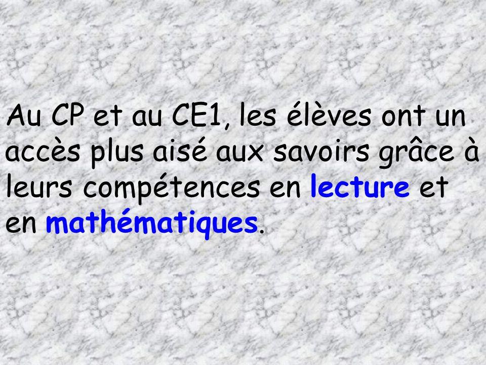 Au CP et au CE1, les élèves ont un accès plus aisé aux savoirs grâce à leurs compétences en lecture et en mathématiques.